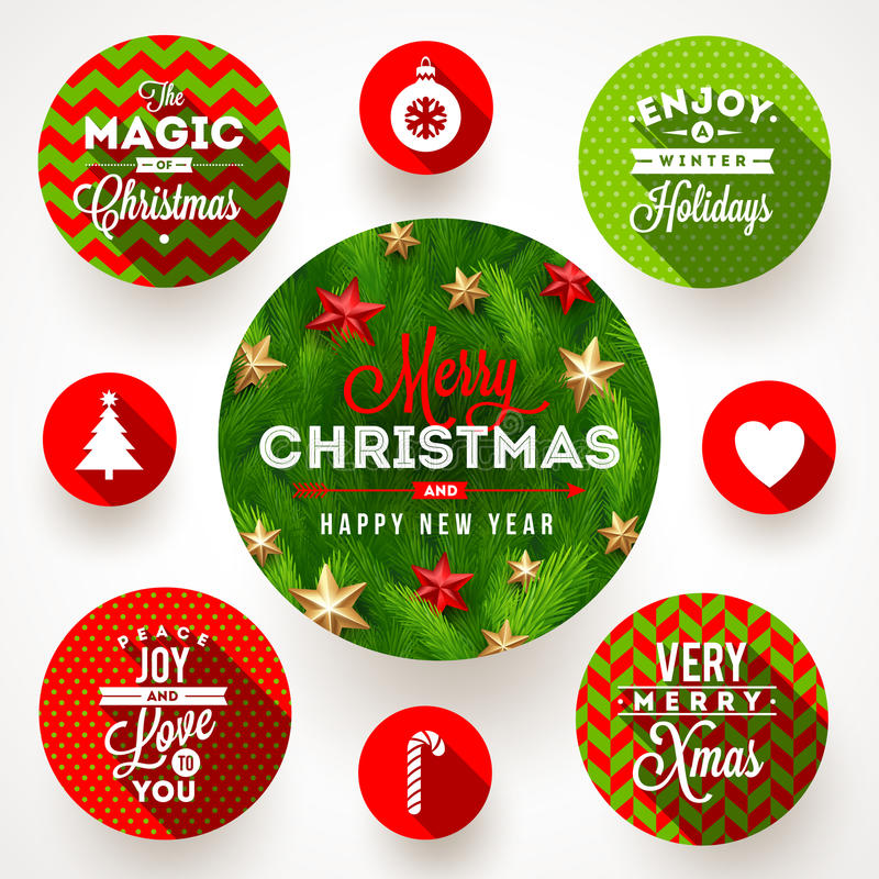 Set of Christmas designs. Set of round frames with Christmas greetings and flat icons with long shadows vector illustration