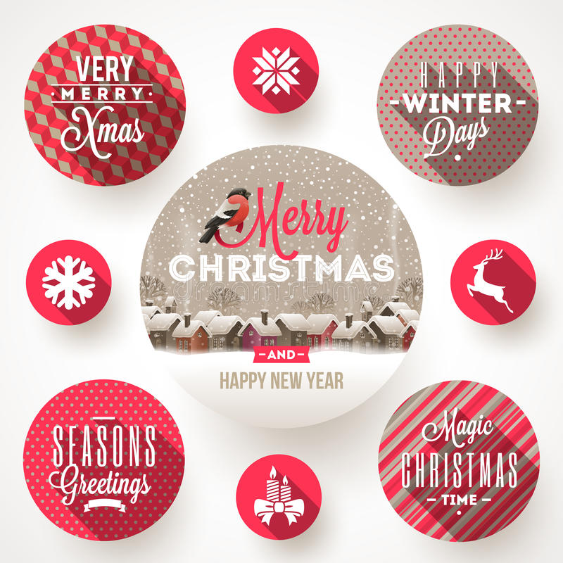 Set of Christmas designs. Set of round frames with Christmas greetings and flat icons with long shadows stock illustration