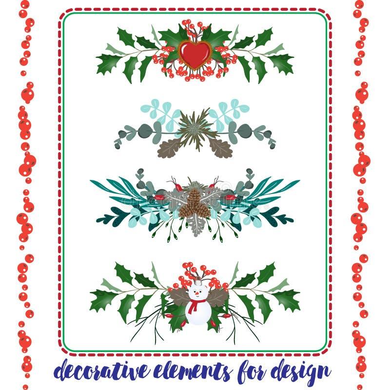 Set of Christmas elements borders royalty free illustration