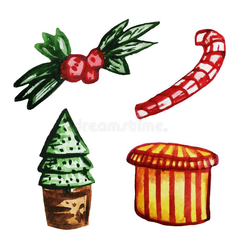 Set of Christmas elements. New Year scenery on an isolated white background. Red-white lollipop, Christmas tree in a pot, gift stock illustration