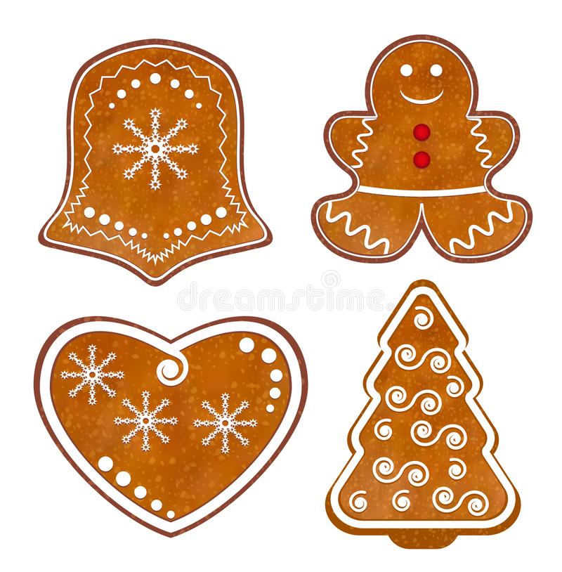 Set Christmas Gingerbread cookies isolated on white background. Vector. Illustration royalty free illustration