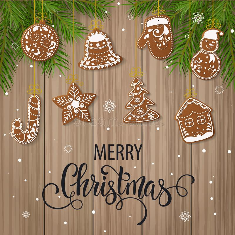 Set of christmas gingerbread decorated cookies. Christmas tree, snowflakes, gifts. Winter holidays. Vector Illustration EPS10 stock illustration