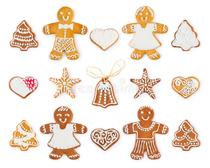 Set of Christmas gingerbread - sweet cookies in the form of holiday symbols and objects stock photos