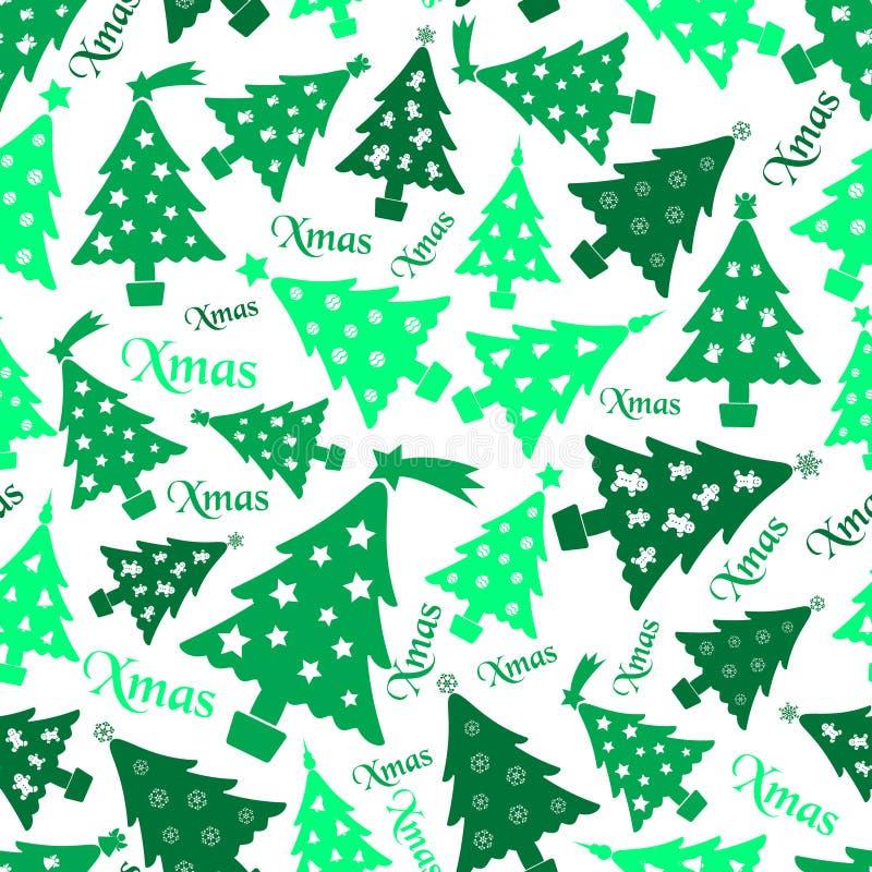 Set of christmas green tree decoration seamless pattern eps10 royalty free illustration