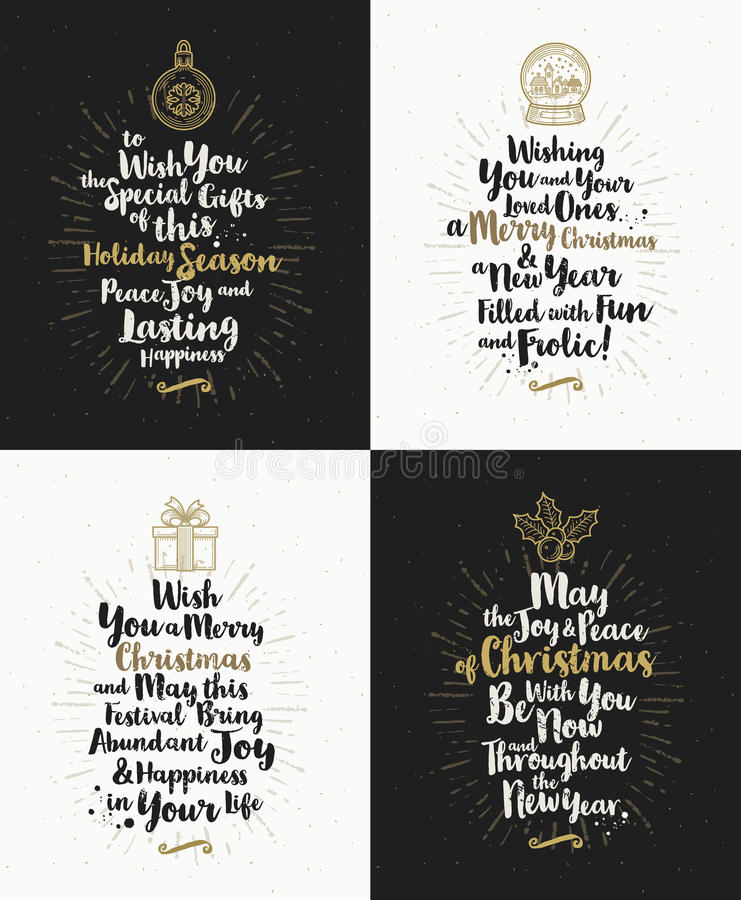 Set of Christmas greeting cards. With calligraphic type design and Christmas symbols vector illustration