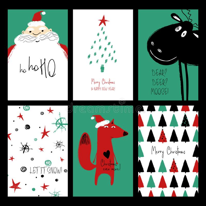 Set Of Funny Christmas Cards. stock photo