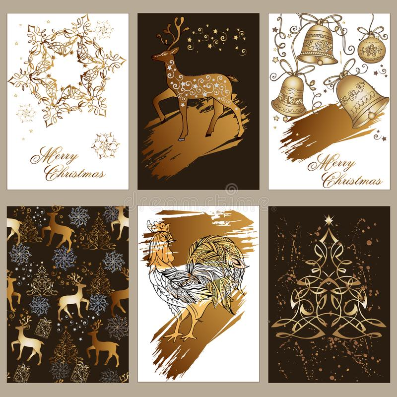 A set of Christmas greeting cards with gifts, deer, bells, ornament. Traditional Christmas design elements in black, white and gol royalty free illustration
