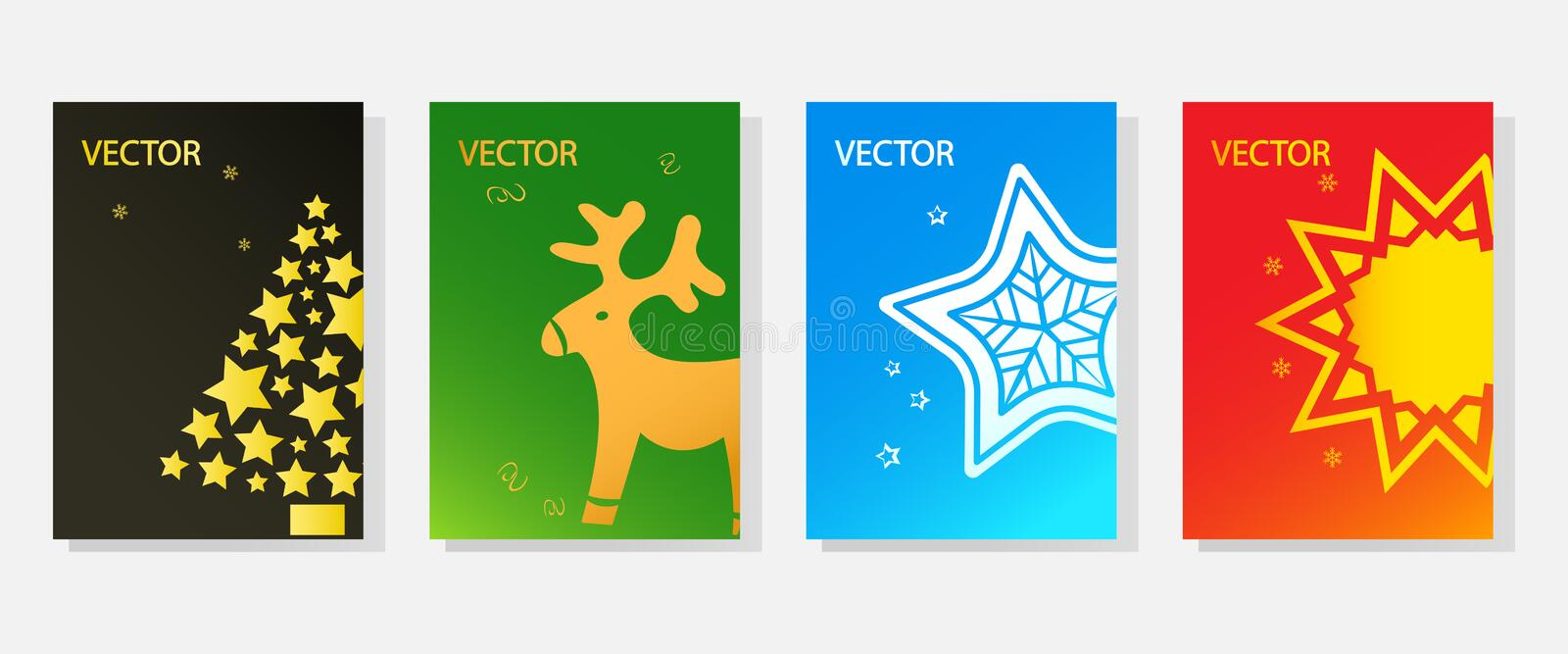 Set of Christmas greeting cards, template colorful holiday banners, space for your text. Vector. Illustration vector illustration