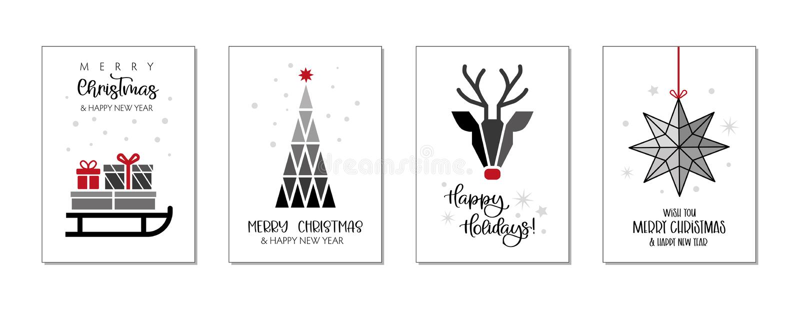 Set of christmas and happy new year greeting cards vector illustration stock illustration