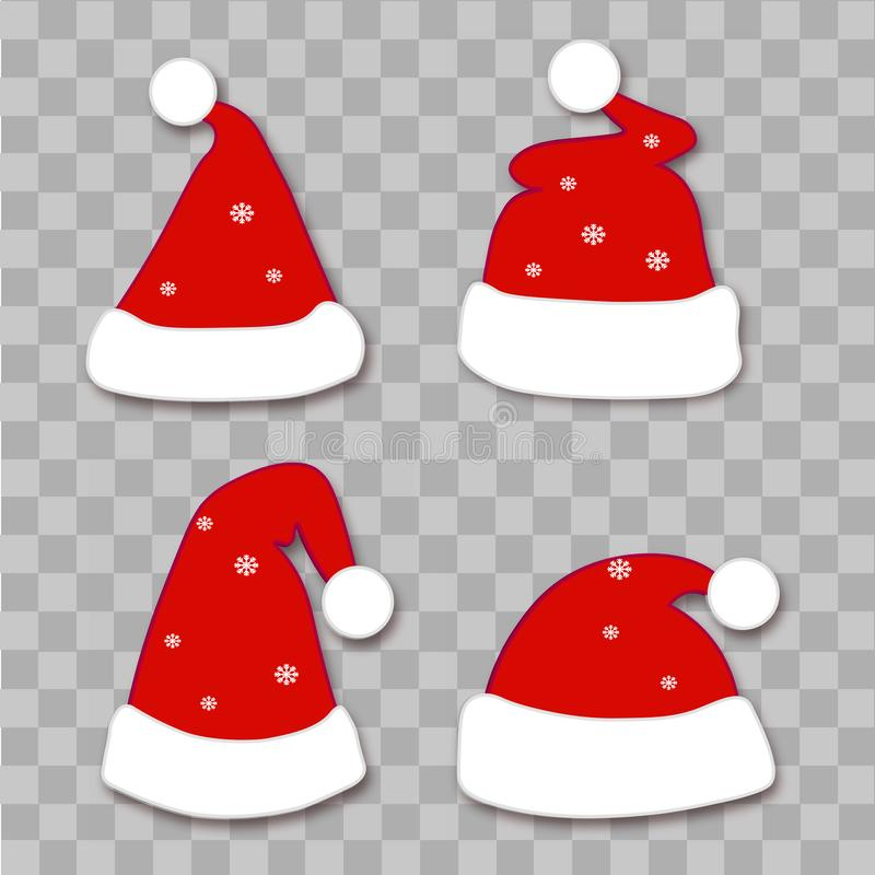Set of Christmas hats on transparent background. Vector royalty free illustration