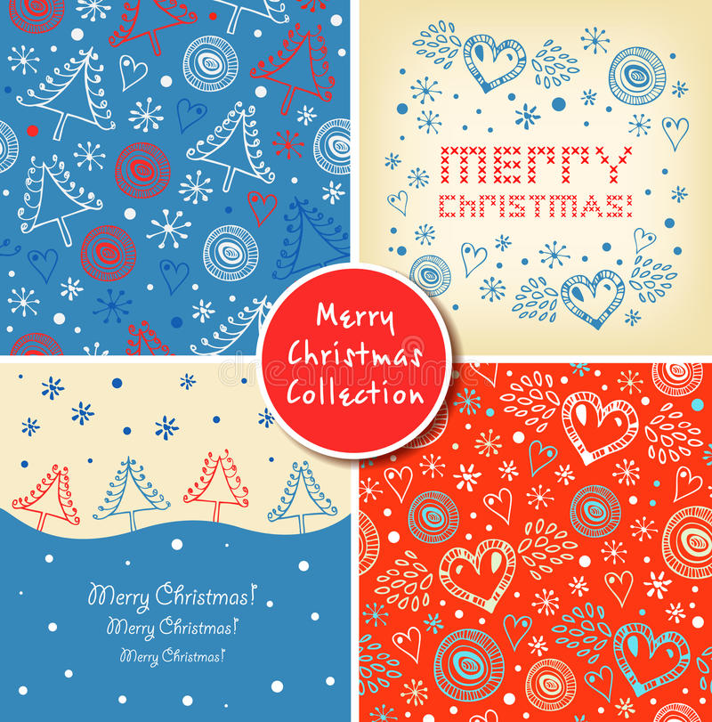 Set of Christmas holiday banners. Collection of Christmas cute elements, backgrounds, patterns. stock illustration