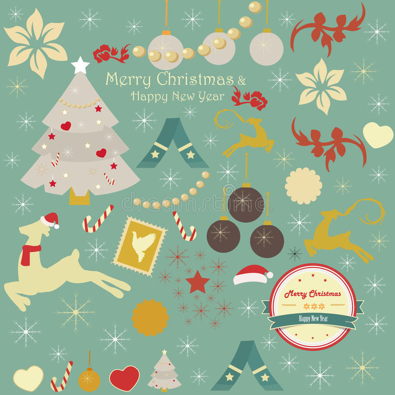 Set of Christmas and holiday ornaments vector illustration