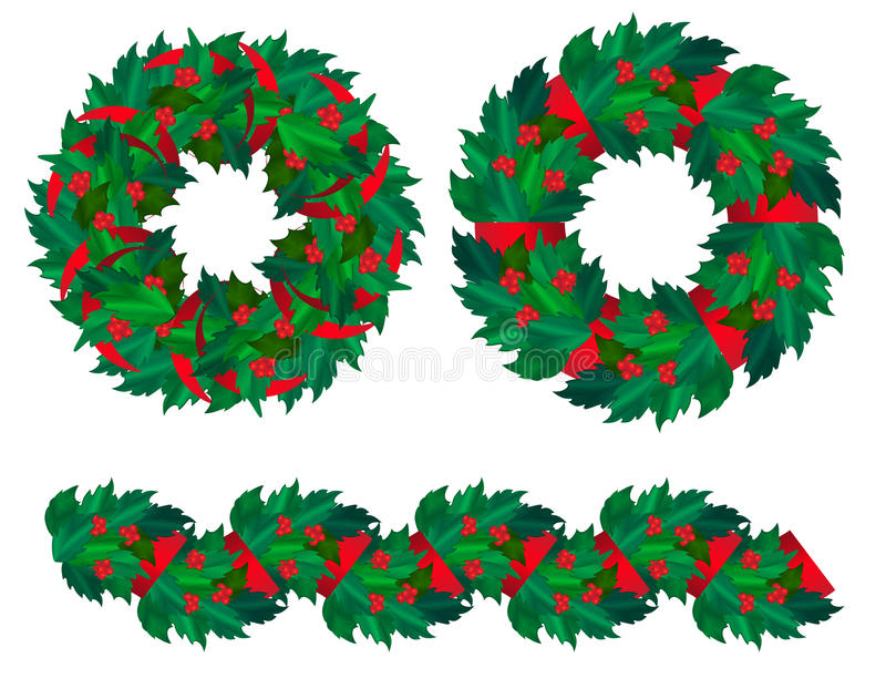Set of Christmas holly wreaths and garland. vector illustration