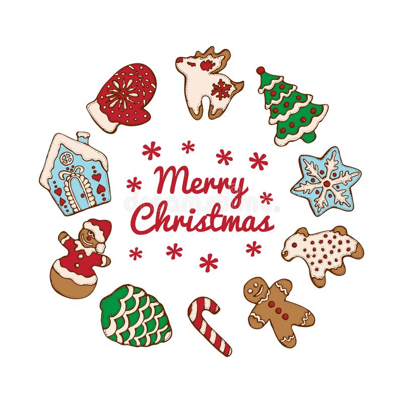 Set of christmas homemade gingerbread cookies isolated on the white background. Christmas tree, snowflake, deer and. Snowman.  Vector illustration  for menu stock illustration