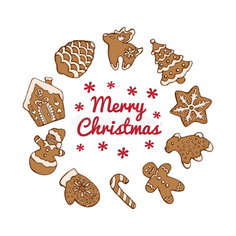 Set of christmas homemade gingerbread cookies isolated on the white background. Christmas tree, snowflake, deer and. Snowman.  Vector illustration  for menu vector illustration