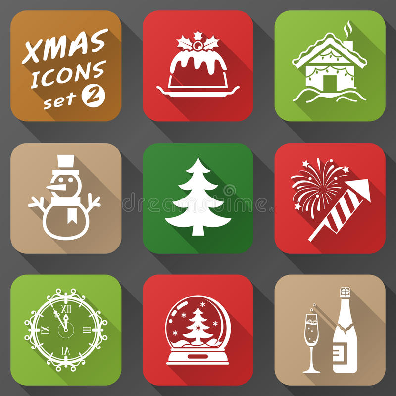 Set of christmas icons in flat style royalty free illustration