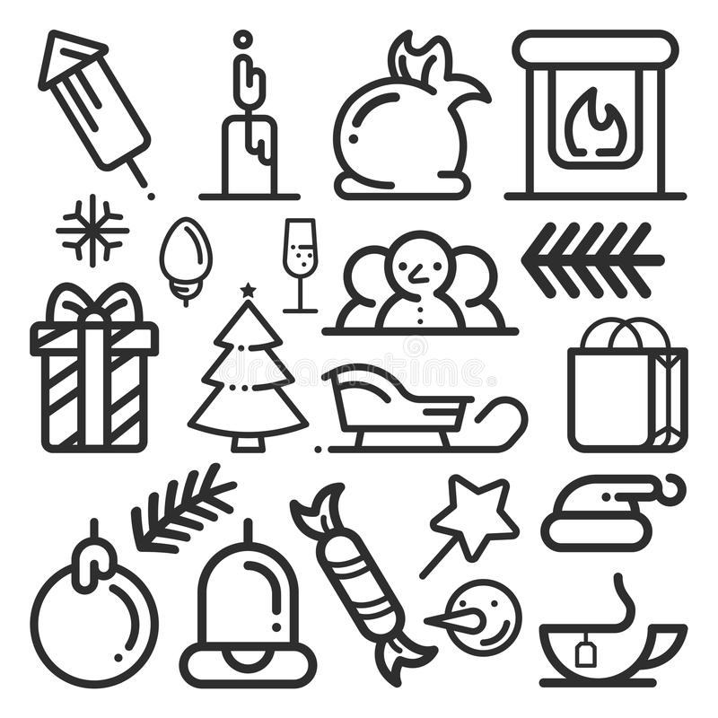 Set of Christmas icons in a flat style. Vector. vector illustration