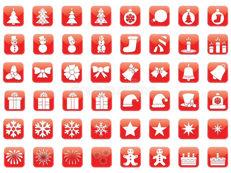 Download Set of Christmas icons stock image. Image of rounded - 32599387