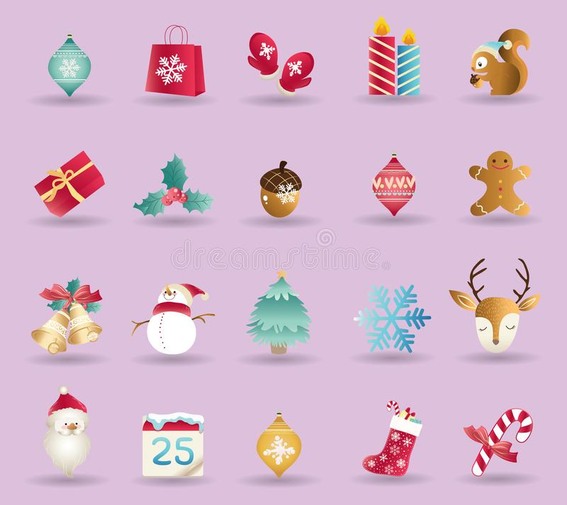 Set of Christmas icons vector vector illustration