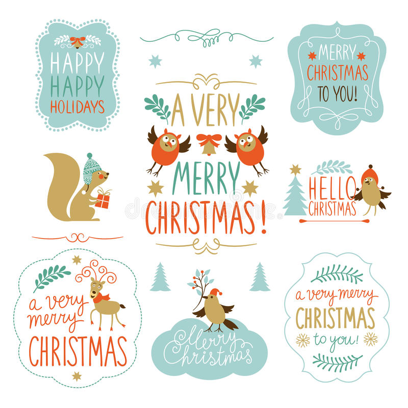 Set of Christmas lettering and graphic elements stock illustration