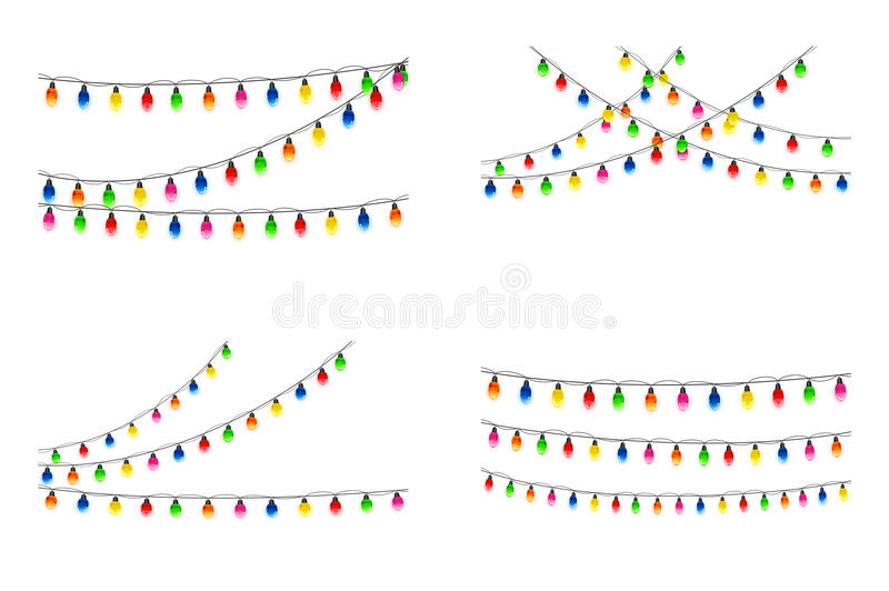 Download Set Of Christmas Lights On White Background Stock Vector