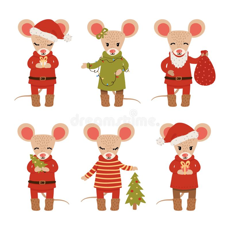 Set of Christmas mice isolated on white background. Cartoon characters. Vector illustration royalty free illustration