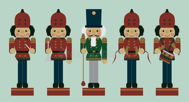 Set of christmas musician nutcrackers royalty free illustration