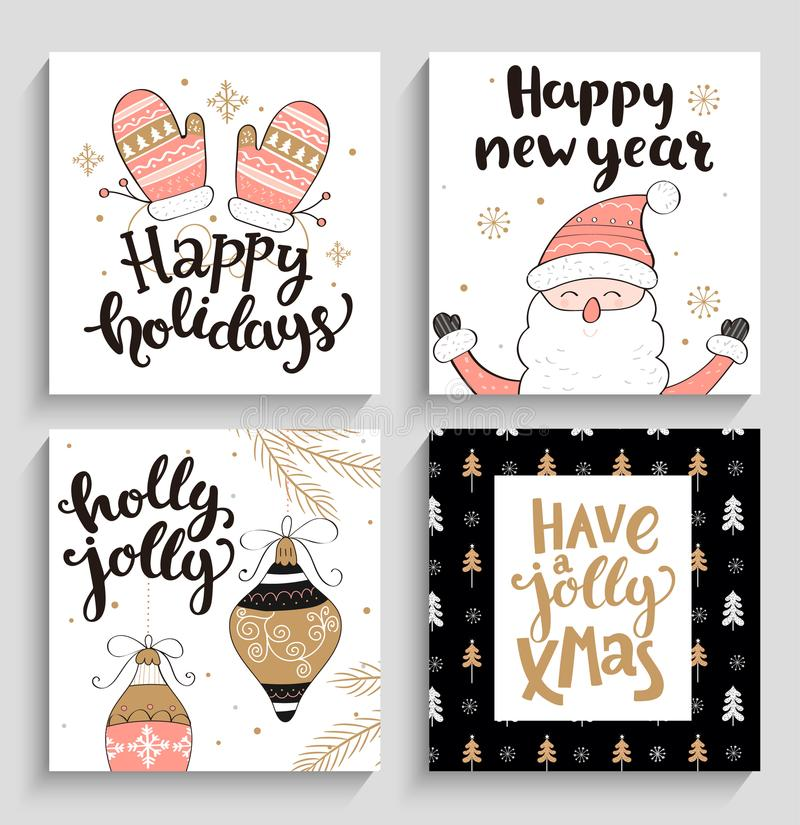 Set of christmas and new year cards. vector illustration