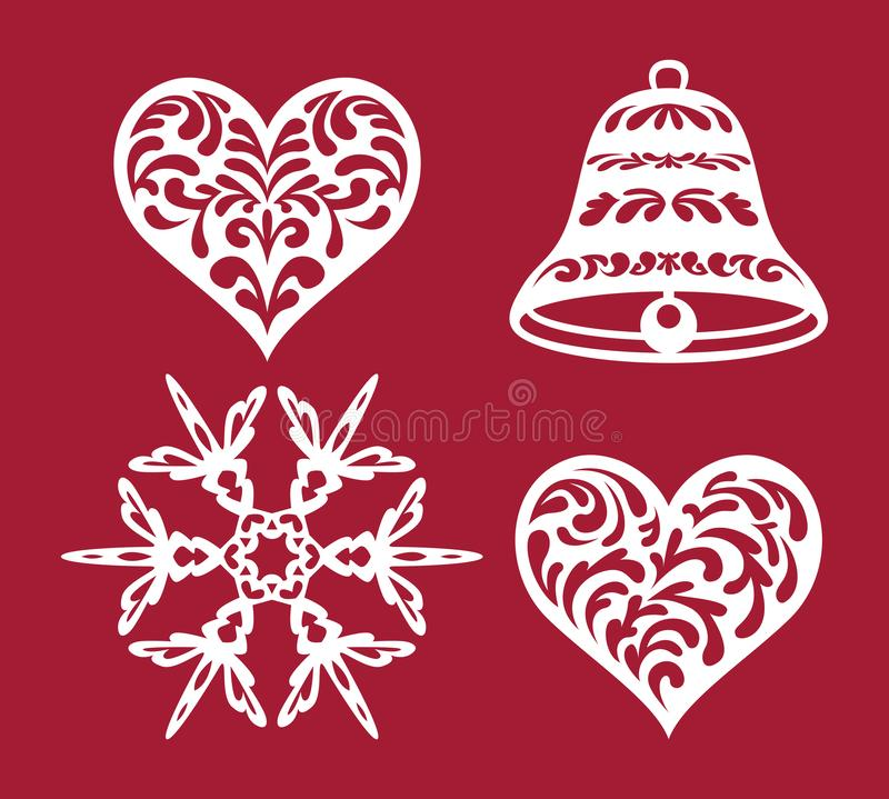 Set of Christmas or New Year decoration. Snowflake, bell, heart. Templates for laser cutting, plotter cutting, stencil. Or printing. Elements of festive vector illustration