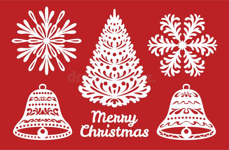 Set of Christmas or New Year decoration. Snowflakes, bells, Christmas tree. Templates for laser cutting, plotter cutting or printi royalty free illustration