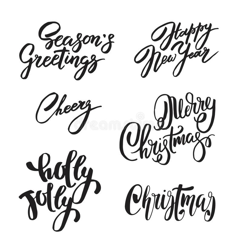 Set of Christmas and New Year design lettering. Handwritten XMAS wishes. Hand drawn signs for greeting card, invitation. Set of Christmas and New Year design vector illustration