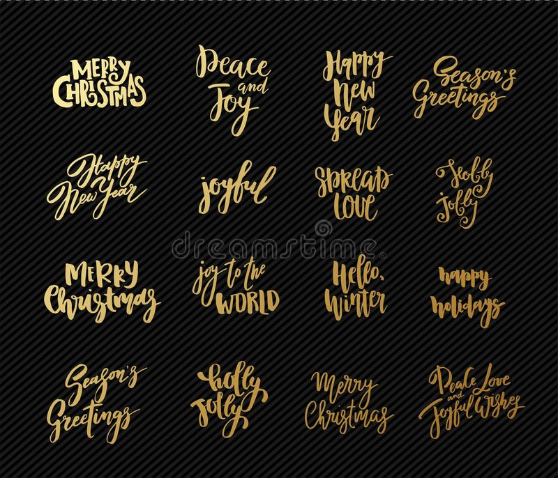 Set of Christmas and New Year design lettering. Handwritten XMAS wishes. Hand drawn signs for greeting card, invitation. Set of Christmas and New Year design stock illustration