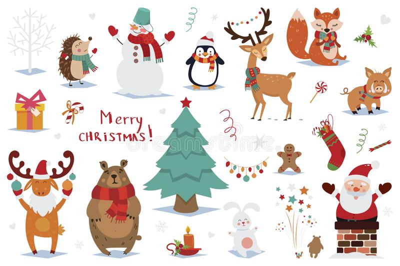 Set of Christmas and New Year elements with animals and Santa. Vector illustration royalty free stock photography