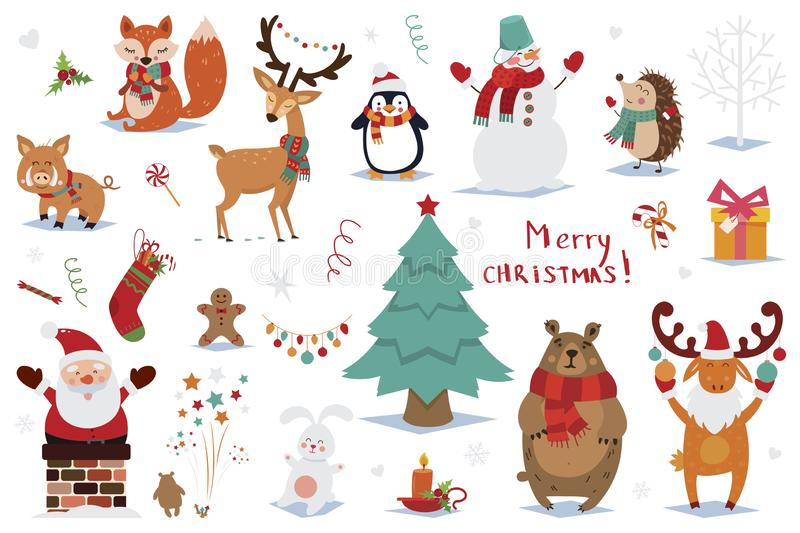 Set of Christmas and New Year elements with animals and Santa. Vector illustration stock images