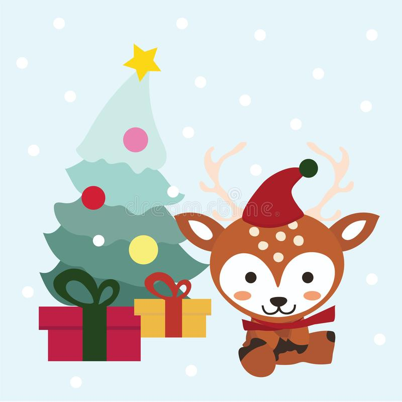 Set of Christmas and New Year elements with animals. stock illustration