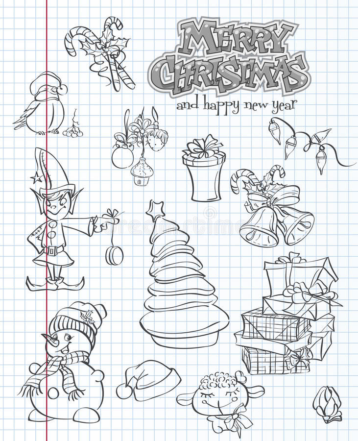Set of Christmas and New Year festive items and characters. black contour vector illustration