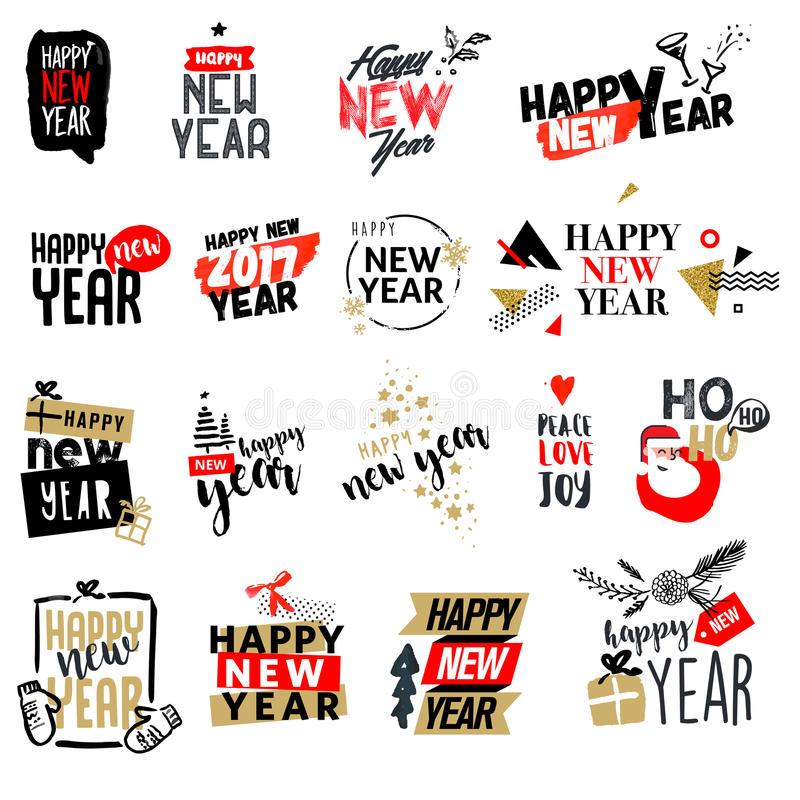 Set of Christmas and New Year flat design badges and labels. royalty free illustration