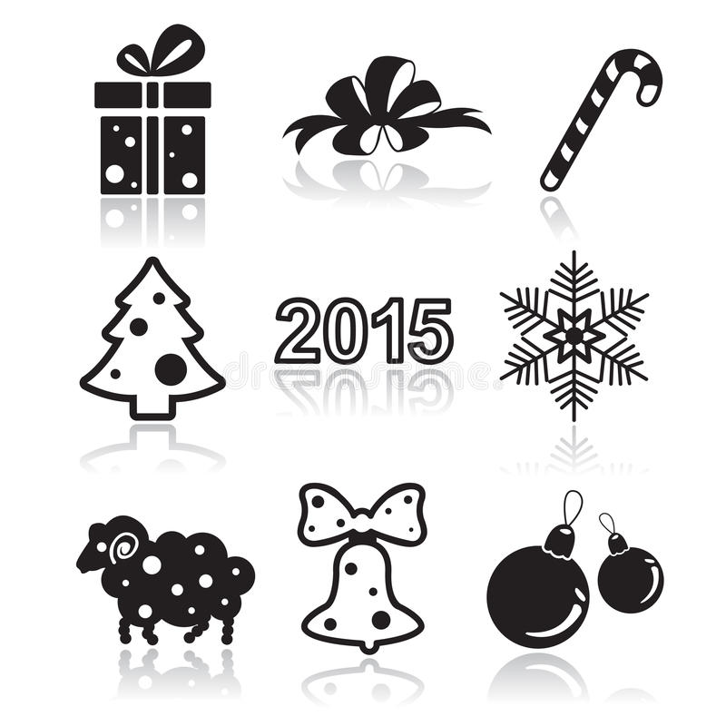 Set of christmas and new year flat icons stock illustration