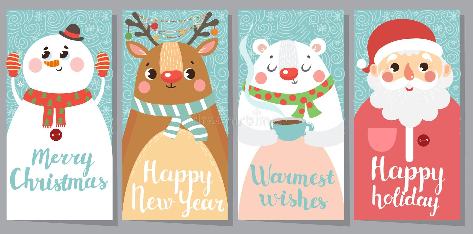 Set of Christmas and New Year greeting cards. vector illustration