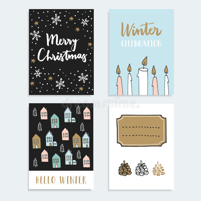 Set of Christmas, New Year greeting, journaling cards, invitations. Hand drawn illustration. Candles, snowflakes, winter houses stock illustration