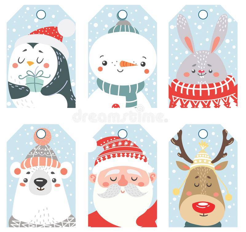 Set of Christmas and New Year labels with animals and Santa. royalty free illustration
