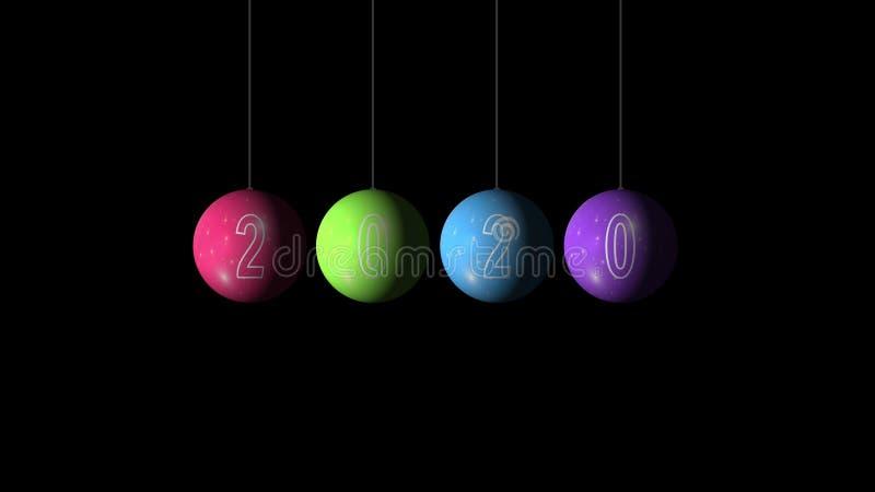 Set of the Christmas and New Year multicolored Balls e text 2020 su sfondo nero Buon Natale e felice nuovo immagine stock libera da diritti