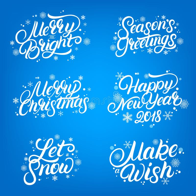 Set of Christmas and New Year 2018 quotes. Hand written lettering with falling snow and snowflakes. stock illustration