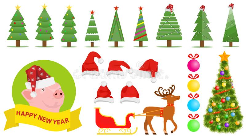 Set of Christmas and New Year`s elements. Santa Claus hat, Christmas tree, Christmas decorations royalty free illustration