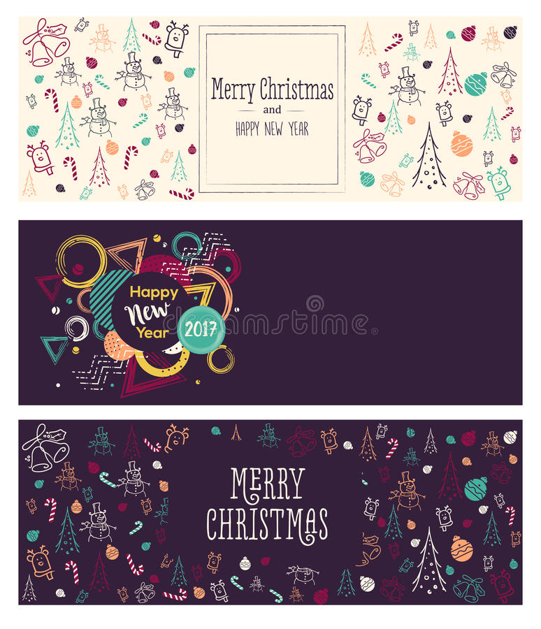 Set of Christmas and New Year social media banners. stock images