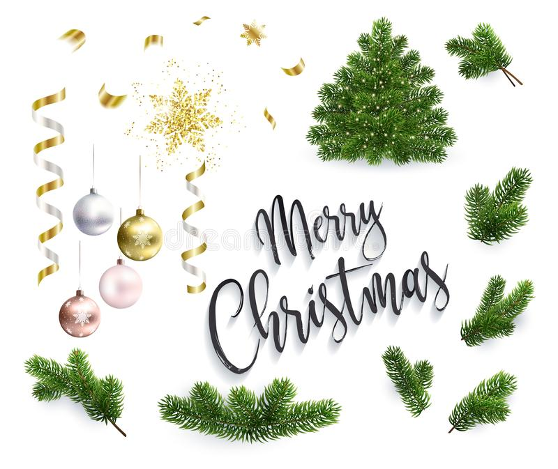 Set of Christmas objects, toys, fir tree branches. Set of Christmas objects, toys, ribbons and fir tree branches. Xmas tree and inscription Merry Christmas vector illustration