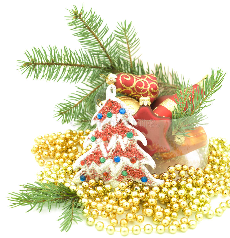 Set of Christmas ornaments royalty free stock photography