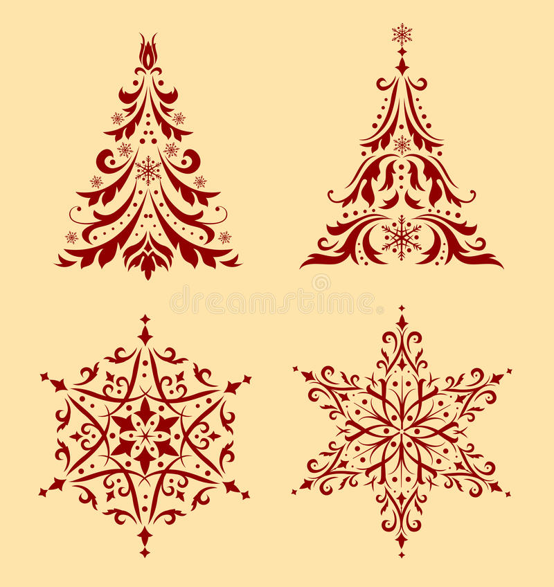 Set of Christmas ornaments. Set of beautiful Christmas ornaments. To create holiday cards, backgrounds, ornaments, decoration vector illustration