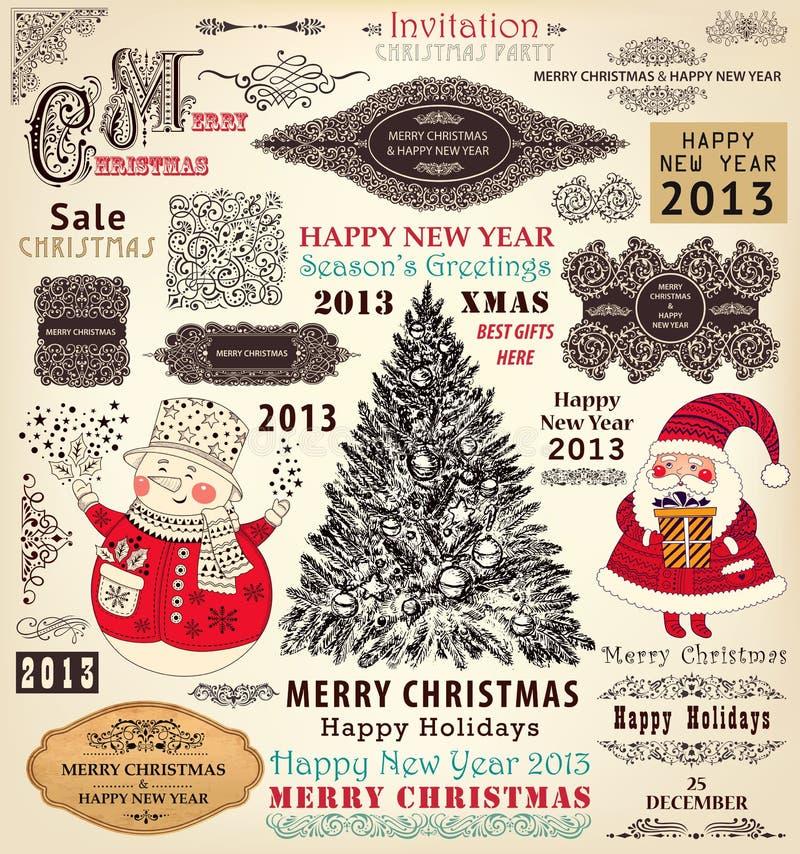 Set of Christmas Ornaments and Decorative Elements. Vector collection of Christmas Ornaments and Decorative Elements borders, frames, stickers with Santa Claus royalty free illustration
