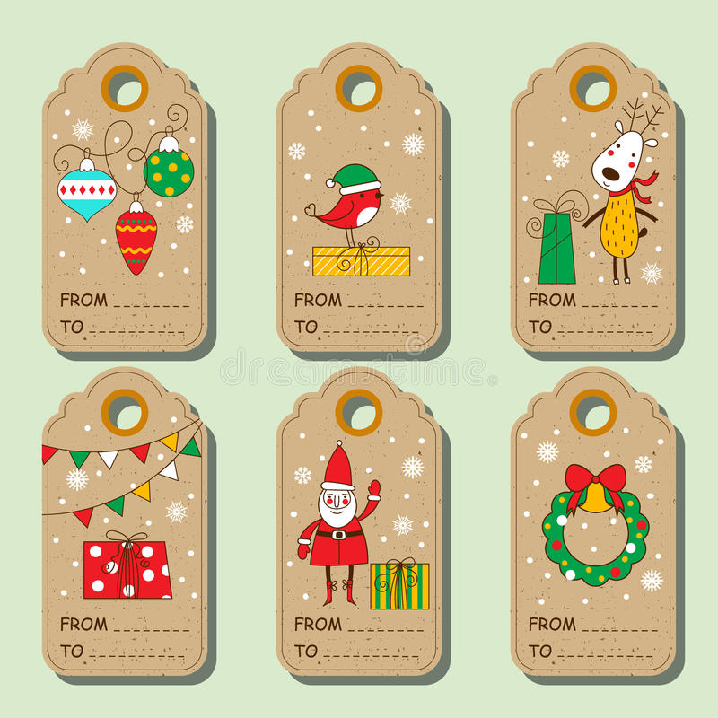 Set of christmas paper tags. royalty free illustration